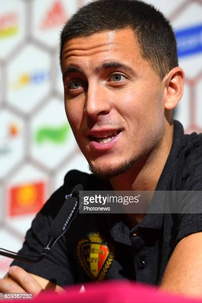 Eden Hazard midfielder of Belgium talks to the press during press conference prior to the International Qualification Match before the FIFA World Cup...
