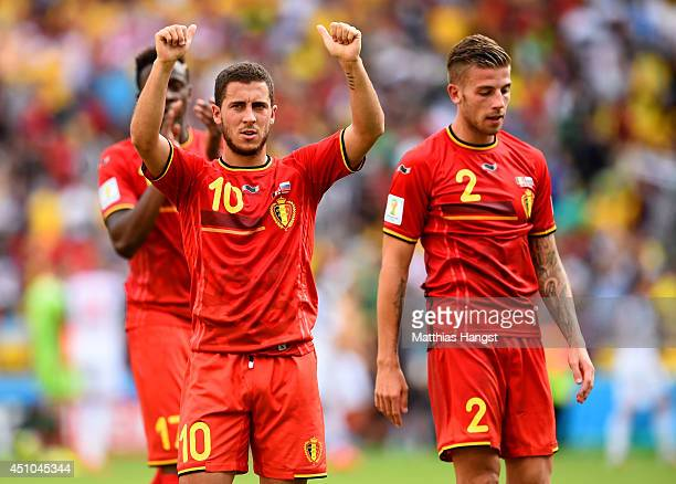 Eden Hazard of Belgium acknowledges the fans after a 10 victory in the 2014 FIFA World Cup Brazil Group H match between Belgium and Russia at...