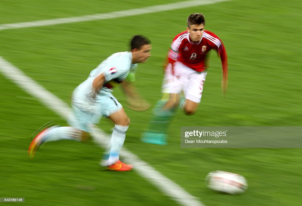 <a gi-track='captionPersonalityLinkClicked' href=/galleries/search?phrase=Eden+Hazard&family=editorial&specificpeople=5539543 ng-click='$event.stopPropagation()'>Eden Hazard</a> (L) of Belgium and Adam Nagy of Hungary compete for the ball during the UEFA EURO 2016 round of 16 match between Hungary and Belgium at Stadium Municipal on June 26, 2016 in Toulouse, France.