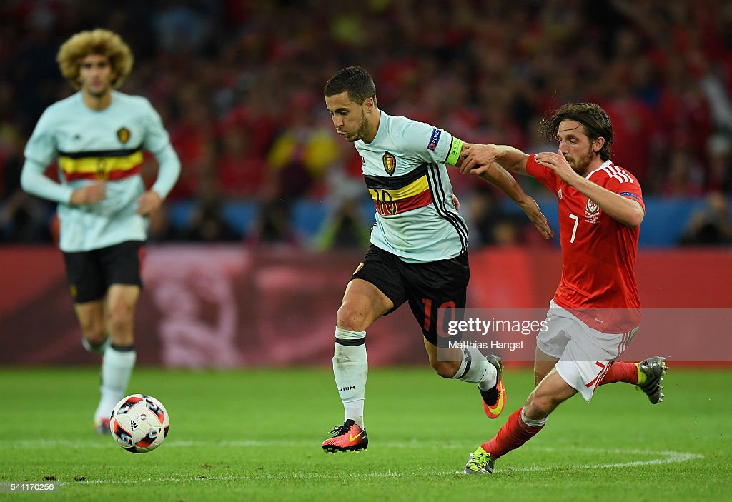 <a gi-track='captionPersonalityLinkClicked' href=/galleries/search?phrase=Eden+Hazard&family=editorial&specificpeople=5539543 ng-click='$event.stopPropagation()'>Eden Hazard</a> of Belgium and <a gi-track='captionPersonalityLinkClicked' href=/galleries/search?phrase=Joe+Allen+-+Welsh+Soccer+Player&family=editorial&specificpeople=9629091 ng-click='$event.stopPropagation()'>Joe Allen</a> of Wales compete for the ball during the UEFA EURO 2016 quarter final match between Wales and Belgium at Stade Pierre-Mauroy on July 1, 2016 in Lille, France.