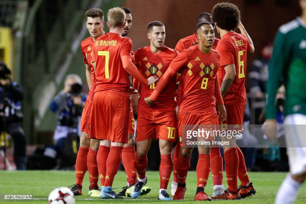Eden Hazard of Belgium celebrates 10 with Thomas Meunier of Belgium Kevin de Bruyne of Belgium Nacer Chadli of Belgium Youri Tielemans of Belgium...