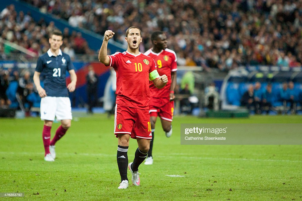 Eden Hazard #10 of Belgium celebrates after scoring a penalty during the international friendly game between France and Belgium at Stade de France on June 7, 2015 in Saint Denis near Paris, France.