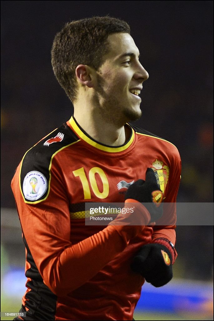 Eden Hazard of Belgium celebrates after scoring the opening goal during the FIFA 2014 World Cup Group A qualifying match between Belgium and Macedonia at the King Baudouin stadium on March 26, 2013 in Brussels, Belgium.