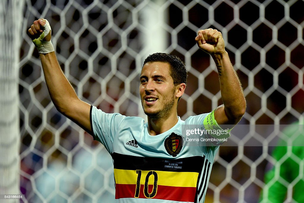 <a gi-track='captionPersonalityLinkClicked' href=/galleries/search?phrase=Eden+Hazard&family=editorial&specificpeople=5539543 ng-click='$event.stopPropagation()'>Eden Hazard</a> of Belgium celebrates his team's second goal by Michy Batshuayi (not pictured) during the UEFA EURO 2016 round of 16 match between Hungary and Belgium at Stadium Municipal on June 26, 2016 in Toulouse, France.