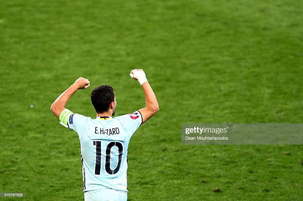<a gi-track='captionPersonalityLinkClicked' href=/galleries/search?phrase=Eden+Hazard&family=editorial&specificpeople=5539543 ng-click='$event.stopPropagation()'>Eden Hazard</a> of Belgium celebrates scoring his team's third goal during the UEFA EURO 2016 round of 16 match between Hungary and Belgium at Stadium Municipal on June 26, 2016 in Toulouse, France.