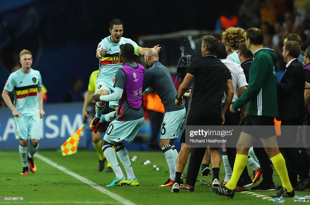 <a gi-track='captionPersonalityLinkClicked' href=/galleries/search?phrase=Eden+Hazard&family=editorial&specificpeople=5539543 ng-click='$event.stopPropagation()'>Eden Hazard</a> (2nd L) of Belgium celebrates scoring his team's third goal with his team mates and staffs during the UEFA EURO 2016 round of 16 match between Hungary and Belgium at Stadium Municipal on June 26, 2016 in Toulouse, France.