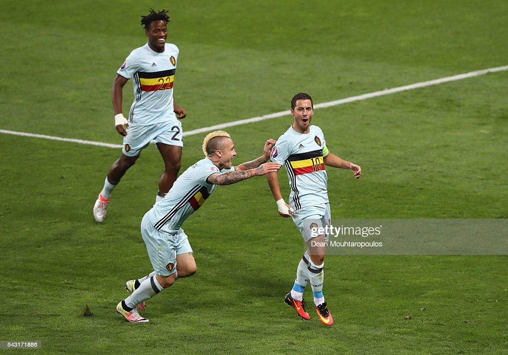 <a gi-track='captionPersonalityLinkClicked' href=/galleries/search?phrase=Eden+Hazard&family=editorial&specificpeople=5539543 ng-click='$event.stopPropagation()'>Eden Hazard</a> (R) of Belgium celebrates scoring his team's third goal with his team mates Michy Batshuayi (c) and Radja Nainggolan (l) during the UEFA EURO 2016 round of 16 match between Hungary and Belgium at Stadium Municipal on June 26, 2016 in Toulouse, France.