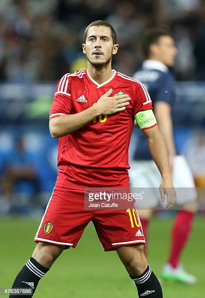 Eden Hazard of Belgium celebrates scoring the fourth goal during the international friendly match between France and Belgium at Stade de France on...