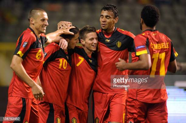 Eden Hazard of Belgium celebrates with teammates Timmy Simons Dries Mertens Igor De Camargo and Moussa Dembele after scoring the 20 goal during the...