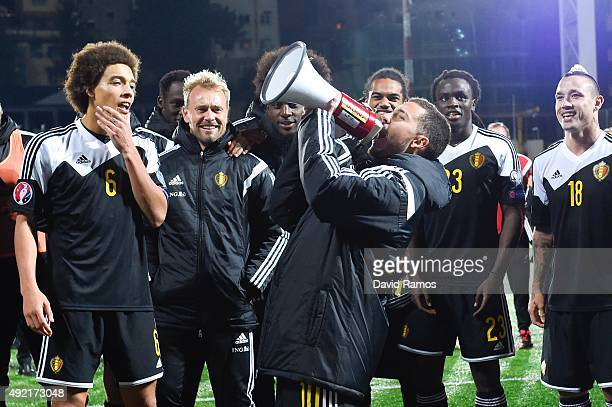 Eden Hazard of Belgium celebrates with this teammates after defeating andorra at the end of the UEFA EURO 2016 Qualifier match between Andorra and...