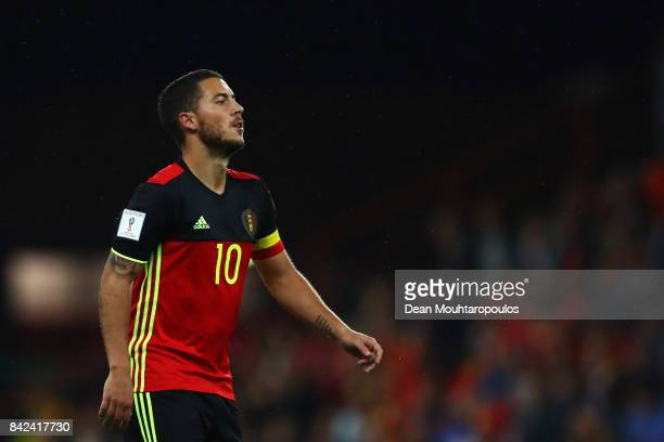 Eden Hazard of Belgium in action during the FIFA 2018 World Cup Qualifier between Belgium and Gibraltar at Stade Maurice Dufrasne on August 31 2017...