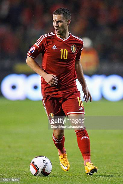 Eden Hazard of Belgium in action during the Group B UEFA European Championship 2016 Qualifier match bewteen Belgium and Wales at King Baudouin...
