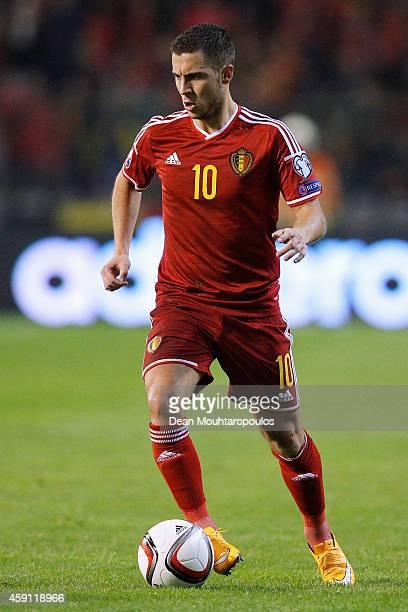 Eden Hazard of Belgium in action during the Group B UEFA European Championship 2016 Qualifier match bewteen Belgium and Wales at King Baudouin...