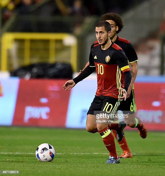 Eden Hazard of Belgium in action during the international friendly match between Belgium and Italy at King Baudouin Stadium on November 13 2015 in...
