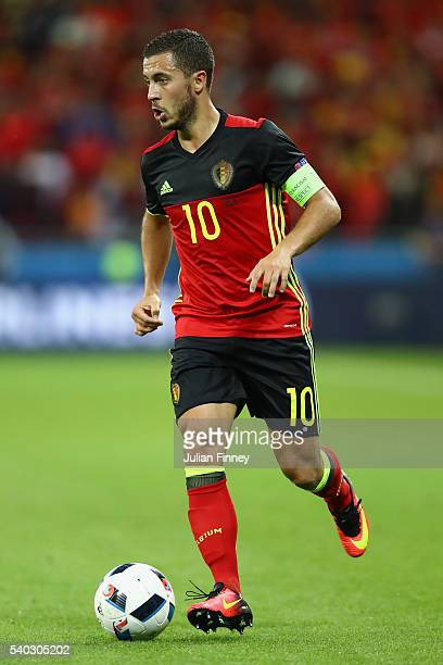 Eden Hazard of Belgium in action during the UEFA EURO 2016 Group E match between Belgium and Italy at Stade des Lumieres on June 13 2016 in Lyon...