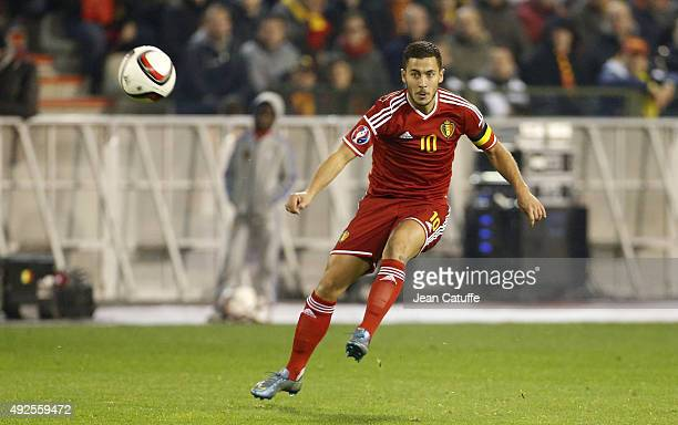 Eden Hazard of Belgium in action during the UEFA EURO 2016 qualifier match between Belgium and Israel at King Baudouin Stadium on October 13 2015 in...
