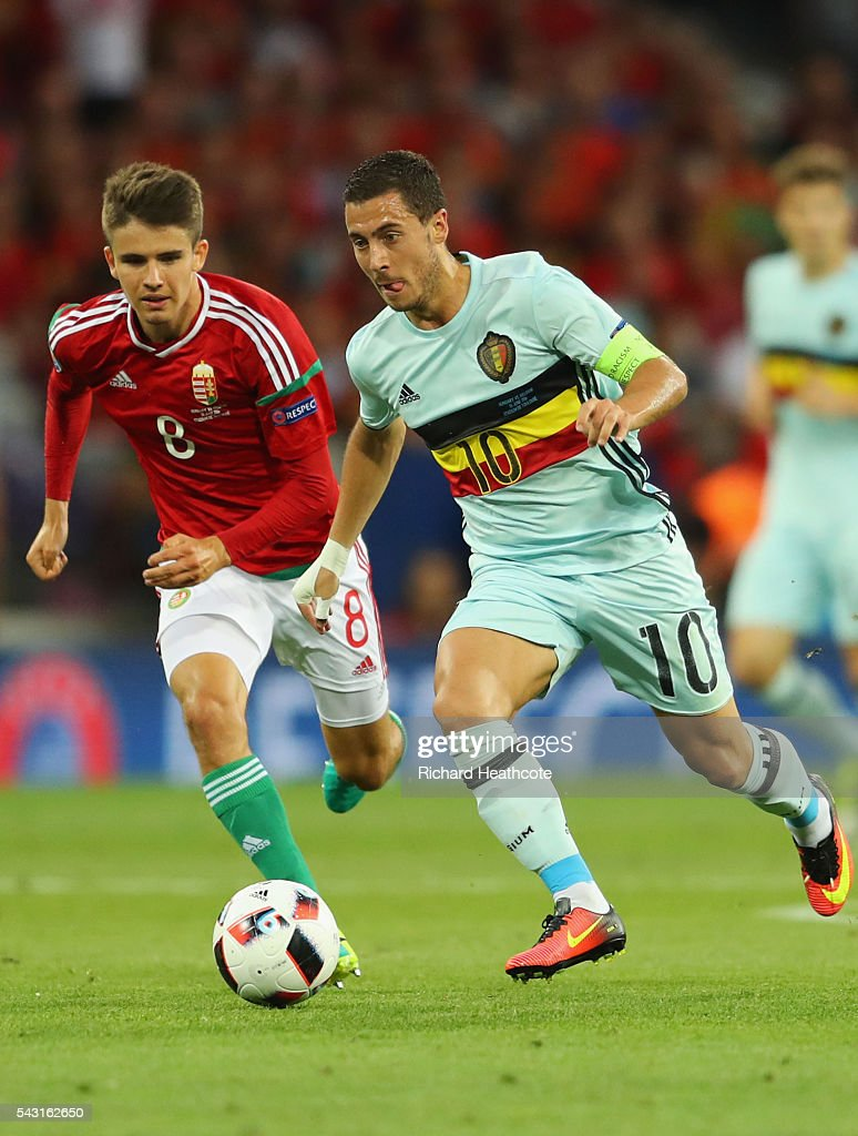 <a gi-track='captionPersonalityLinkClicked' href=/galleries/search?phrase=Eden+Hazard&family=editorial&specificpeople=5539543 ng-click='$event.stopPropagation()'>Eden Hazard</a> of Belgium in action during the UEFA EURO 2016 round of 16 match between Hungary and Belgium at Stadium Municipal on June 26, 2016 in Toulouse, France.