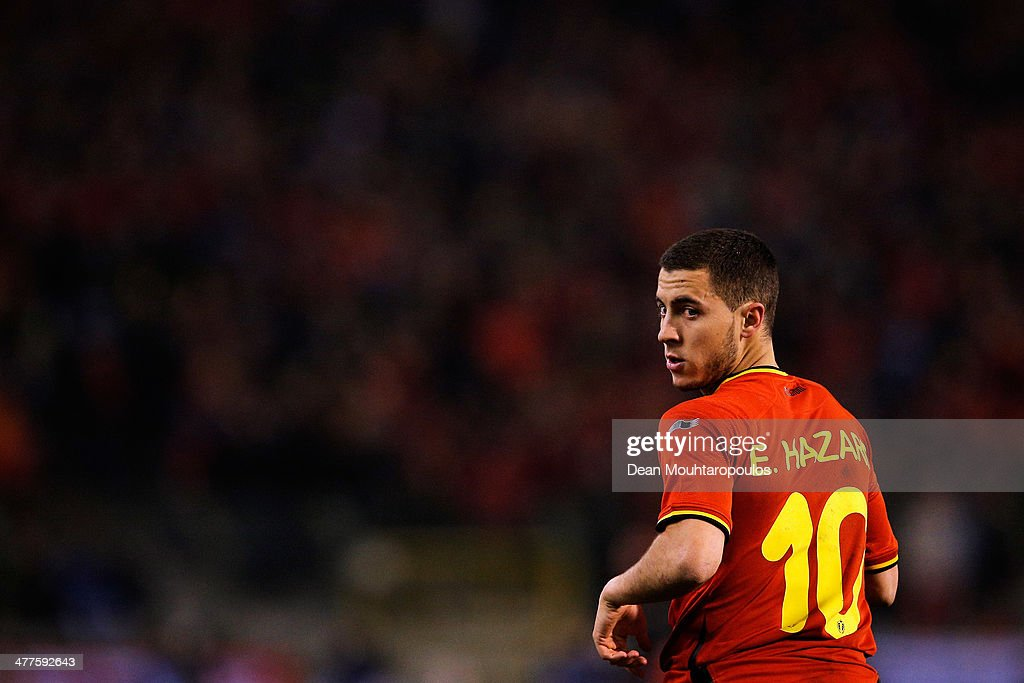 Eden Hazard of Belgium looks on during the International Friendly match between Belgium and Ivory Coast at The King Baudouin Stadium on March 5, 2014 in Brussels, Belgium.