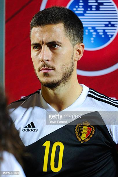 Eden Hazard of Belgium looks on during the UEFA EURO 2016 Qualifier match between Andorra and Belgium at Estadi Nacional d'Andorra la Vella on...