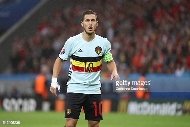 Eden Hazard of Belgium looks on during the UEFA EURO 2016 Quarter Final match between Wales and Belgium at Stade PierreMauroy on July 1 2016 in Lille...