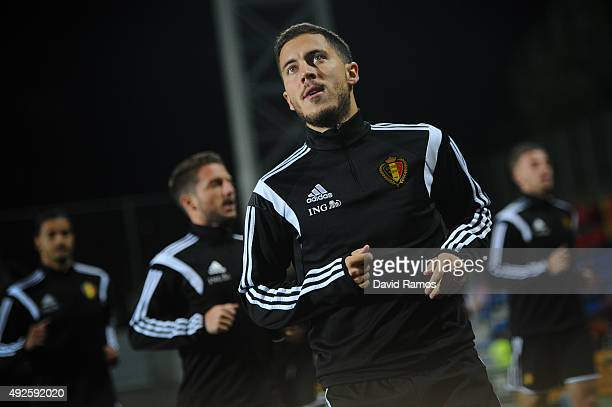 Eden Hazard of Belgium looks on during the warm up priot to the UEFA EURO 2016 Qualifier match between Andorra and Belgium at Estadi Nacional...