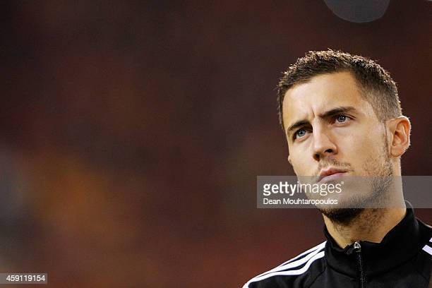 Eden Hazard of Belgium looks on prior to the Group B UEFA European Championship 2016 Qualifier match bewteen Belgium and Wales at King Baudouin...