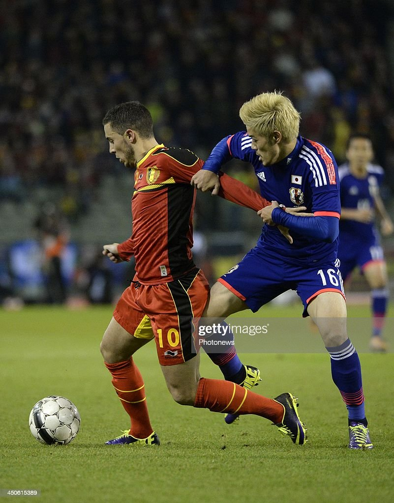 <a gi-track='captionPersonalityLinkClicked' href=/galleries/search?phrase=Eden+Hazard&family=editorial&specificpeople=5539543 ng-click='$event.stopPropagation()'>Eden Hazard</a> of Belgium pictured during the international friendly match before the World Cup in Brasil between Belgium and Japan on November 19, 2013 in Brussels, Belgium