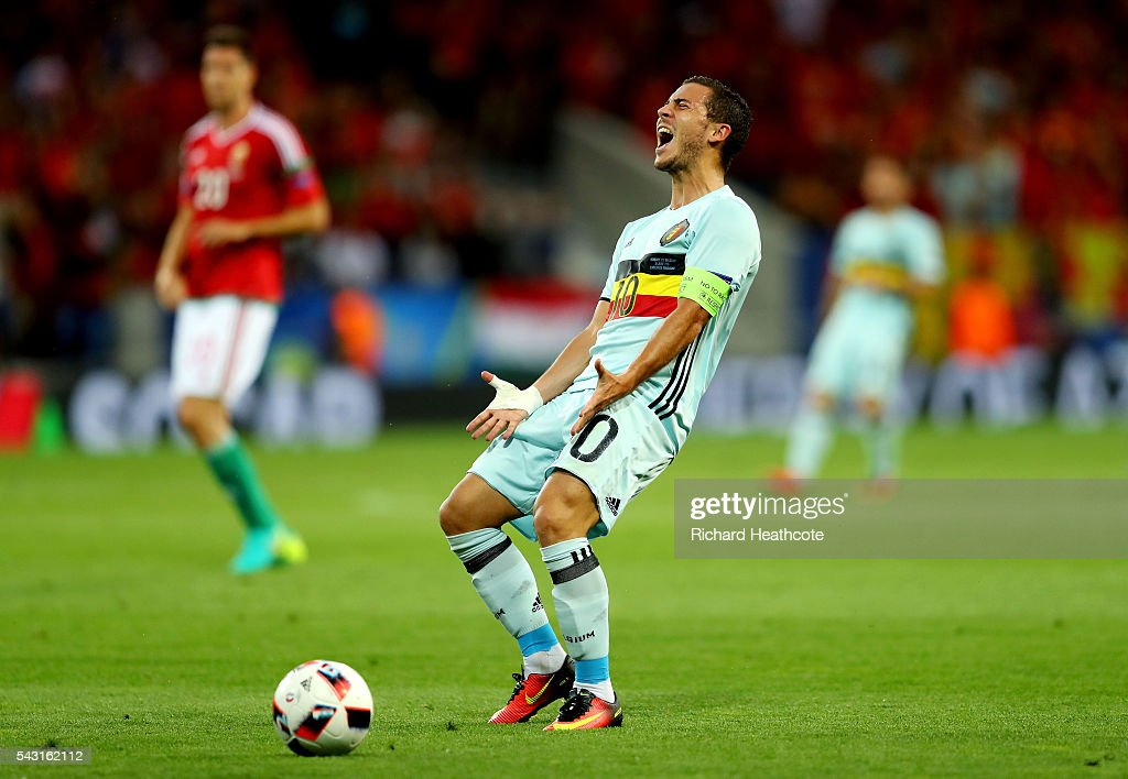 <a gi-track='captionPersonalityLinkClicked' href=/galleries/search?phrase=Eden+Hazard&family=editorial&specificpeople=5539543 ng-click='$event.stopPropagation()'>Eden Hazard</a> of Belgium reacts after caught offside during the UEFA EURO 2016 round of 16 match between Hungary and Belgium at Stadium Municipal on June 26, 2016 in Toulouse, France.