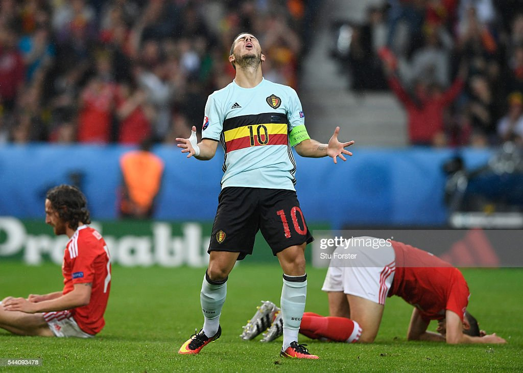 Eden Hazard of Belgium reacts after his shot blocked during the UEFA EURO 2016 quarter final match between Wales and Belgium at Stade Pierre-Mauroy on July 1, 2016 in Lille, France.