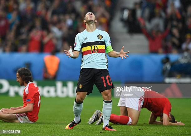 Eden Hazard of Belgium reacts after his shot blocked during the UEFA EURO 2016 quarter final match between Wales and Belgium at Stade PierreMauroy on...