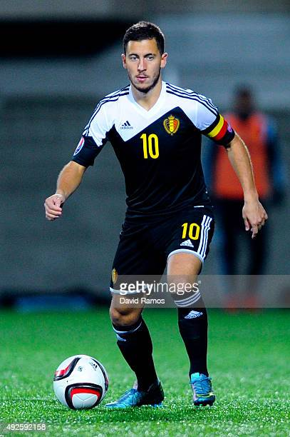 Eden Hazard of Belgium runs with the ball during the UEFA EURO 2016 Qualifier match between Andorra and Belgium at Estadi Nacional d'Andorra la Vella...