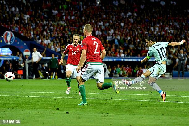 Eden Hazard of Belgium scores his team's third goal during the UEFA EURO 2016 round of 16 match between Hungary and Belgium at Stadium Municipal on...