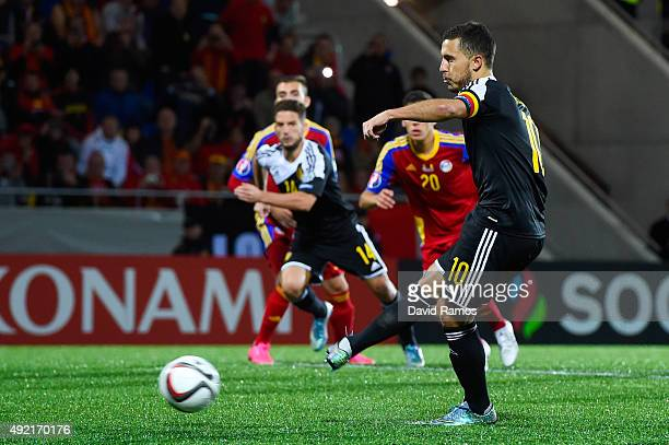Eden Hazard of Belgium scores his team's third goal from the penalty spot during the UEFA EURO 2016 Qualifier match between Andorra and Belgium at...