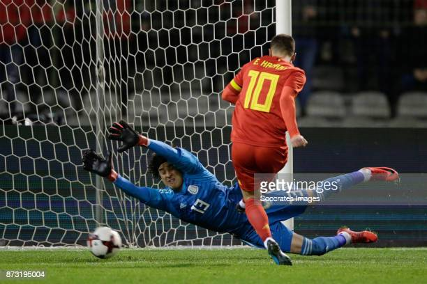 Eden Hazard of Belgium scores the first goal to make it 10 Guilermo Ochoa of Mexico during the International Friendly match between Belgium v Mexico...