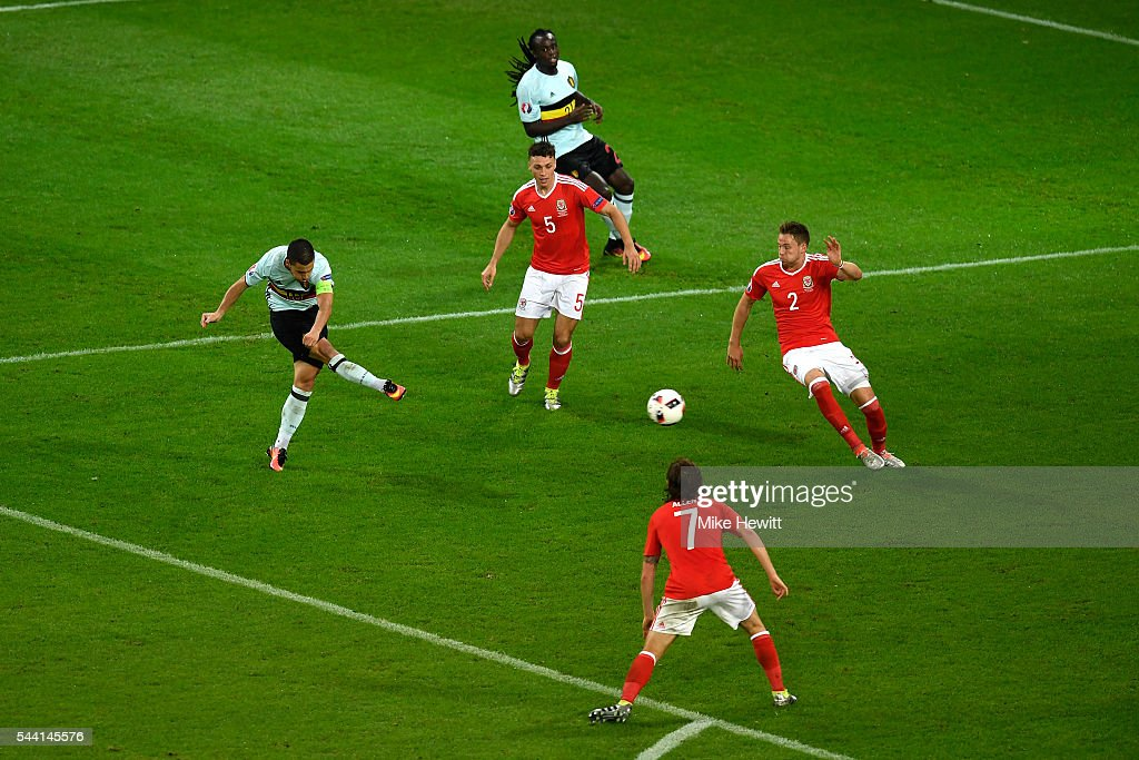 <a gi-track='captionPersonalityLinkClicked' href=/galleries/search?phrase=Eden+Hazard&family=editorial&specificpeople=5539543 ng-click='$event.stopPropagation()'>Eden Hazard</a> of Belgium shoots wide during the UEFA EURO 2016 quarter final match between Wales and Belgium at Stade Pierre-Mauroy on July 1, 2016 in Lille, France.