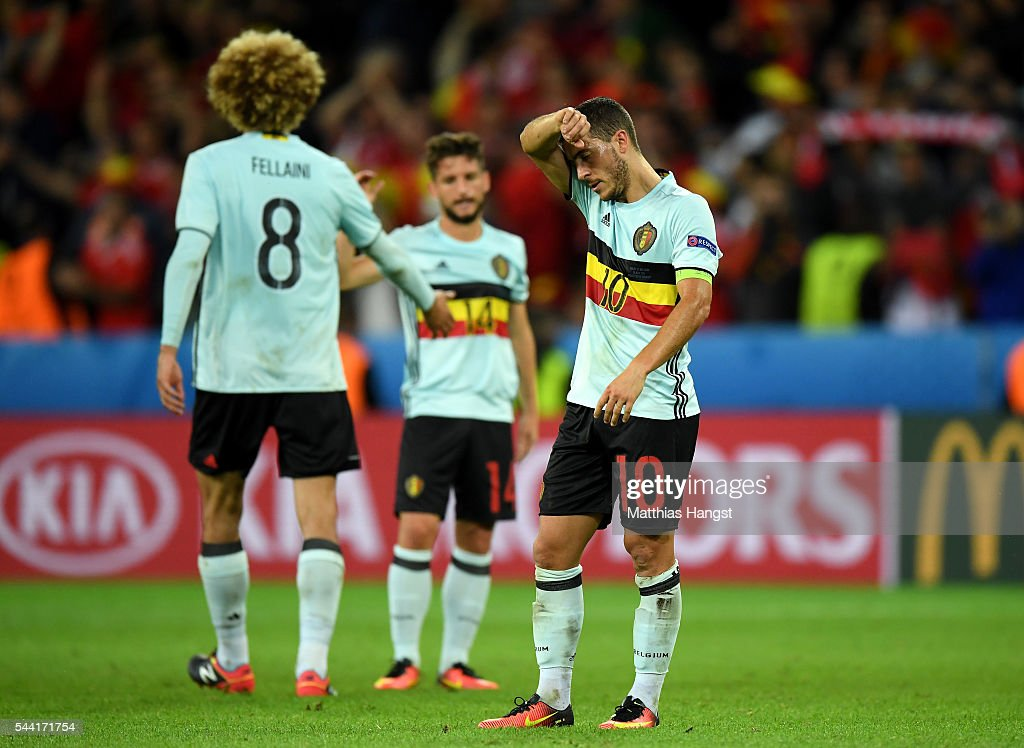 <a gi-track='captionPersonalityLinkClicked' href=/galleries/search?phrase=Eden+Hazard&family=editorial&specificpeople=5539543 ng-click='$event.stopPropagation()'>Eden Hazard</a> of Belgium shows his dejection after his team's 1-3 defeat in the UEFA EURO 2016 quarter final match between Wales and Belgium at Stade Pierre-Mauroy on July 1, 2016 in Lille, France.
