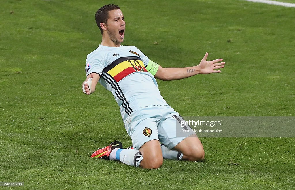 <a gi-track='captionPersonalityLinkClicked' href=/galleries/search?phrase=Eden+Hazard&family=editorial&specificpeople=5539543 ng-click='$event.stopPropagation()'>Eden Hazard</a> of Belgium slides on his knees as he celebrates scoring his team's third goal during the UEFA EURO 2016 round of 16 match between Hungary and Belgium at Stadium Municipal on June 26, 2016 in Toulouse, France.