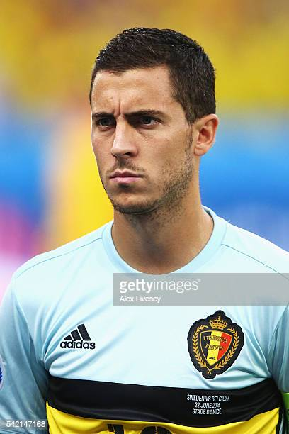 Eden Hazard of Belgium stands during the national anthems ahead of the UEFA EURO 2016 Group E match between Sweden and Belgium at Allianz Riviera...