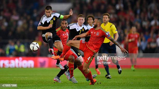 Eden Hazard of Belguim in action during the UEFA EURO Group B 2016 Qualifier between Wales and Belguim at Cardiff City stadium on June 12 2015 in...