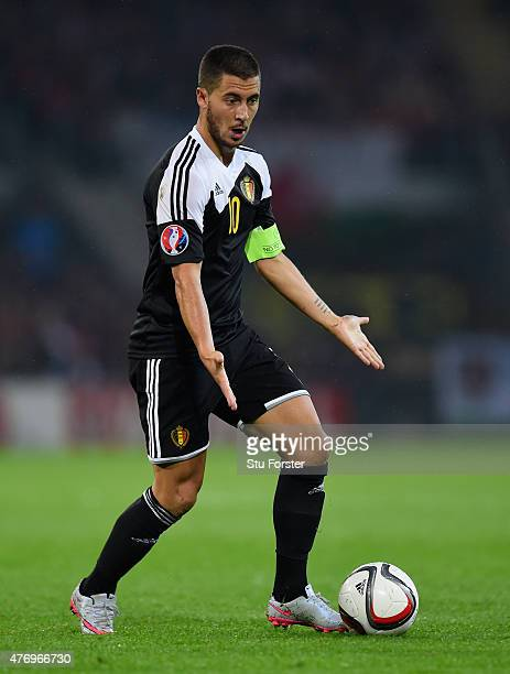 Eden Hazard of Belguim in action during the UEFA EURO Group B 2016 Qualifier between Wales and Belguim at Cardiff City stadium on June 12 2015 in...
