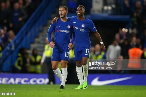 Eden Hazard of Chelsea and Charly Musonda of Chelsea during the Carabao Cup Third Round match between Chelsea and Nottingham Forest at Stamford...