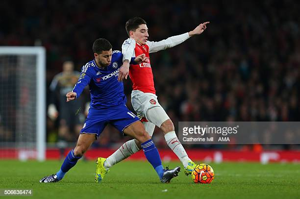 Eden Hazard of Chelsea and Hector Bellerin of Arsenal during the Barclays Premier League match between Arsenal and Chelsea at the Emirates Stadium on...