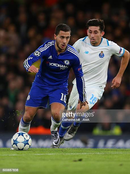 Eden Hazard of Chelsea and Hector Herrera of FC Porto during the UEFA Champions League match between Chelsea and FC Porto at Stamford Bridge on...