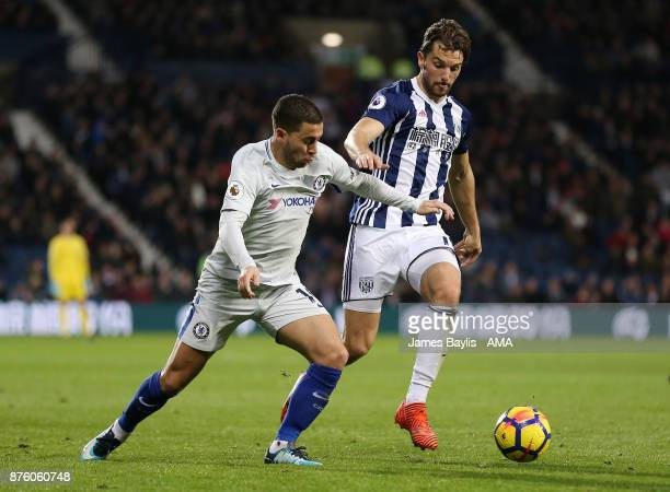 Eden Hazard of Chelsea and Jay Rodriguez of West Bromwich Albion during the Premier League match between West Bromwich Albion and Chelsea at The...