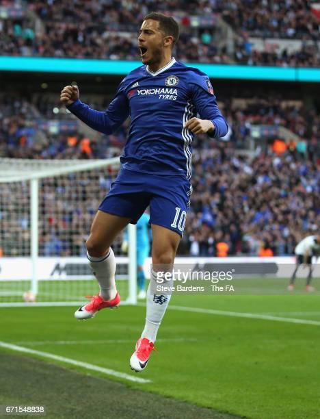 Eden Hazard of Chelsea celebrates after he scores his sides third goal during The Emirates FA Cup SemiFinal between Chelsea and Tottenham Hotspur at...