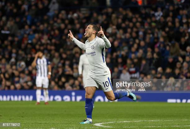 Eden Hazard of Chelsea celebrates after scoring a goal to make it 04 during the Premier League match between West Bromwich Albion and Chelsea at The...