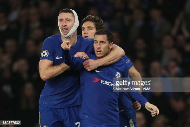 Eden Hazard of Chelsea celebrates after scoring a goal to make it 33 during the UEFA Champions League group C match between Chelsea FC and AS Roma at...