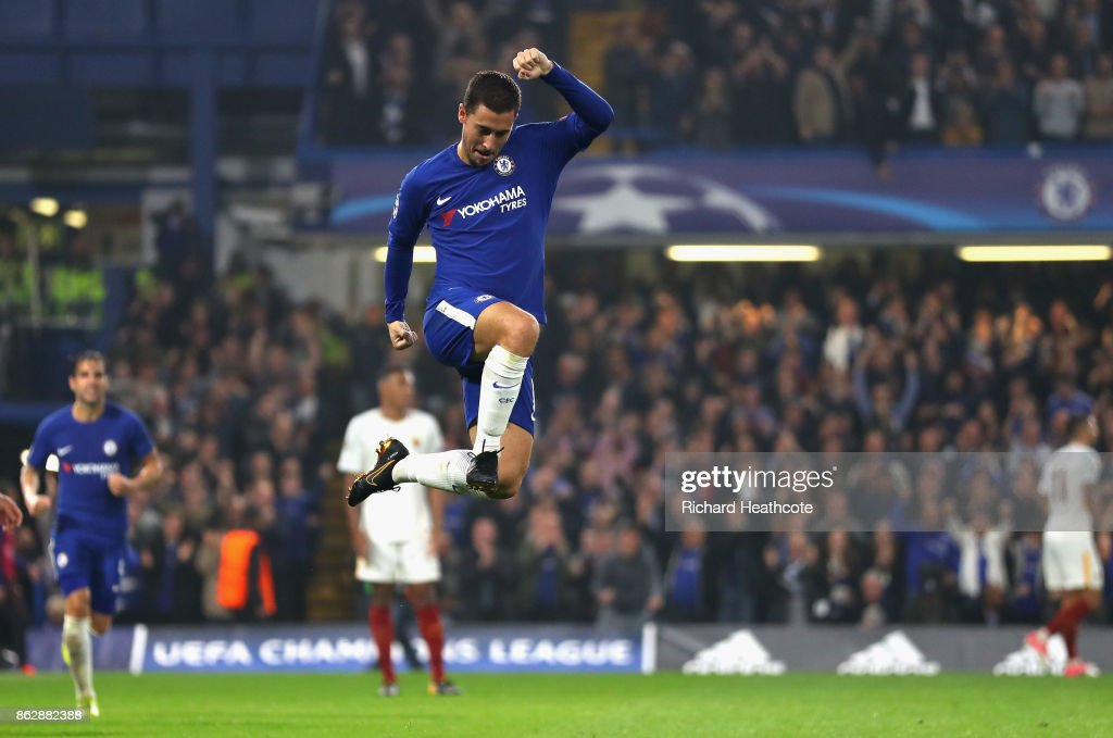 Eden Hazard of Chelsea celebrates after scoring his sides third goal during the UEFA Champions League group C match between Chelsea FC and AS Roma at Stamford Bridge on October 18, 2017 in London, United Kingdom.