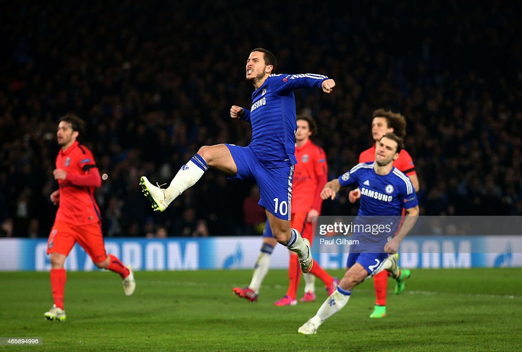 <a gi-track='captionPersonalityLinkClicked' href=/galleries/search?phrase=Eden+Hazard&family=editorial&specificpeople=5539543 ng-click='$event.stopPropagation()'>Eden Hazard</a> of Chelsea celebrates after scoring his team's second goal from the penalty spotduring the UEFA Champions League Round of 16, second leg match between Chelsea and Paris Saint-Germain at Stamford Bridge on March 11, 2015 in London, England.