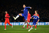 Eden Hazard of Chelsea celebrates after scoring his team's second goal from the penalty spotduring the UEFA Champions League Round of 16 second leg...